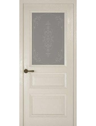 Дверное полотно со стеклом Рива Классика-2 Флер, дуб белый, 800 х 2000 мм