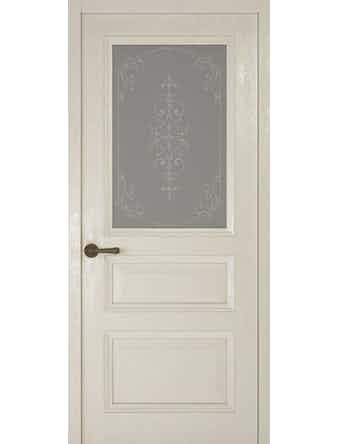 Дверное полотно со стеклом Рива Классика-2 Флер, дуб белый, 900 х 2000 мм