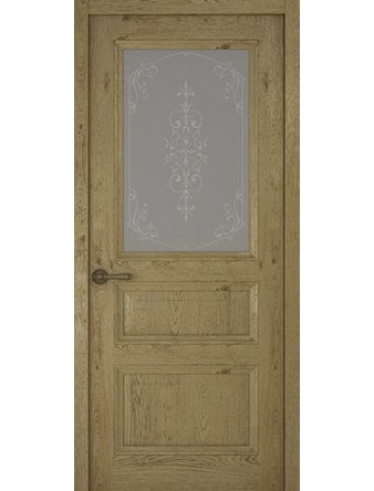 Дверное полотно со стеклом Рива Классика-2 Флер, дуб золотой, 600 х 2000 мм