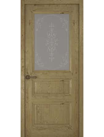 Дверное полотно со стеклом Рива Классика-2 Флер, дуб золотой, 700 х 2000 мм