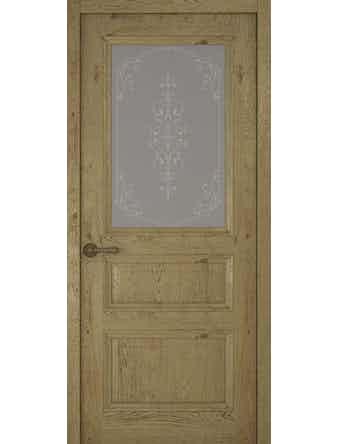 Дверное полотно со стеклом Рива Классика-2 Флер, дуб золотой, 900 х 2000 мм