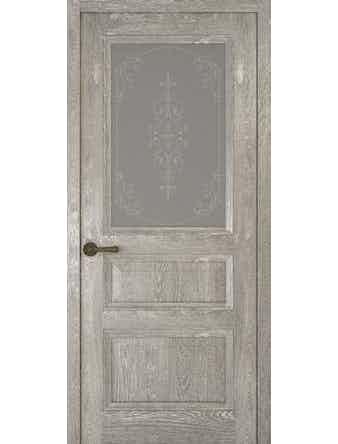 Дверное полотно со стеклом Рива Классика-2 Флер, дуб серый, 400 х 2000 мм