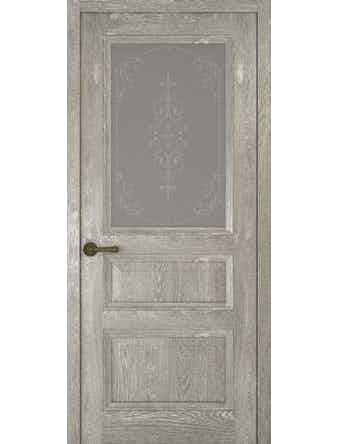 Дверное полотно со стеклом Рива Классика-2 Флер, дуб серый, 800 х 2000 мм