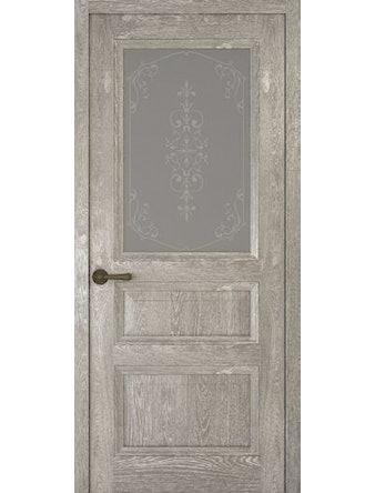 Дверное полотно со стеклом Рива Классика-2 Флер, дуб серый, 900 х 2000 мм