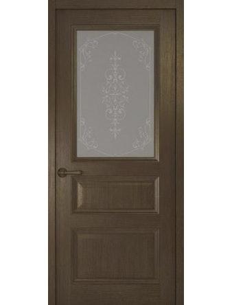 Дверное полотно со стеклом Рива Классика-2 Флер, дуб табачный, 600 х 2000 мм