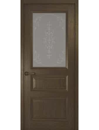 Дверное полотно со стеклом Рива Классика-2 Флер, дуб табачный, 900 х 2000 мм