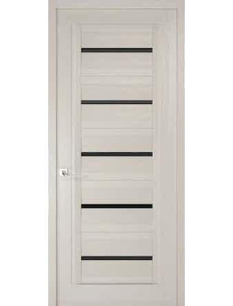 Дверное полотно с черным стеклом Рива Модерно-1, дуб белый Аляска, 400 х 2000 мм