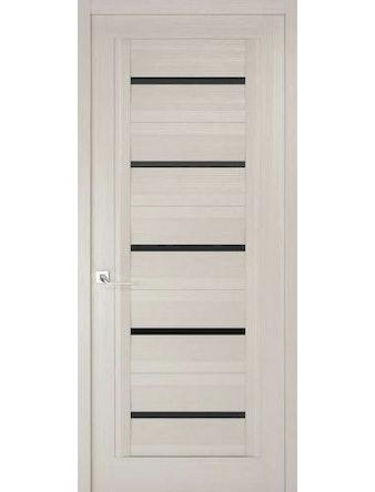 Дверное полотно с черным стеклом Рива Модерно-1 дуб белый Аляска, 700 х 2000 мм