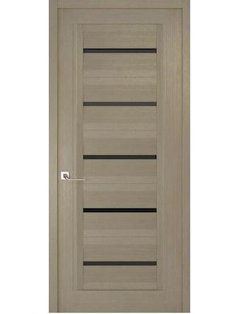 Дверное полотно с черным стеклом Рива Модерно-1, дуб натуральный, 600 х 2000 мм