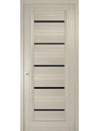 Дверное полотно с черным стеклом Рива Модерно-1, дуб жемчужный, 600 х 2000 мм