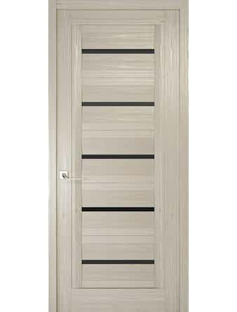 Дверное полотно с черным стеклом Рива Модерно-1, дуб жемчужный, 700 х 2000 мм