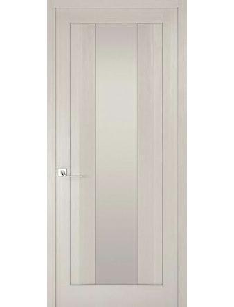 Дверное полотно с белым стеклом Рива Модерно-2, дуб белый Аляска, 400 х 2000 мм