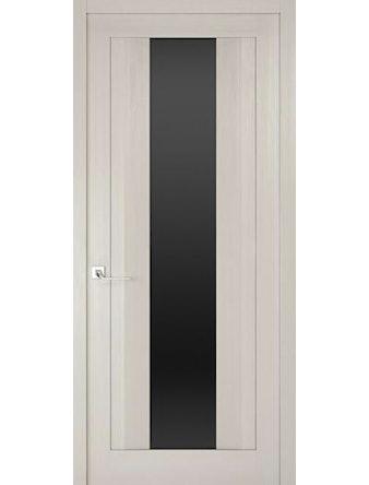 Дверное полотно с черным стеклом Рива Модерно-2, дуб белый Аляска, 400 х 2000 мм