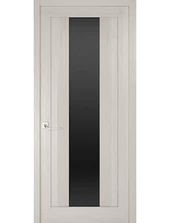Дверное полотно с черным стеклом Рива Модерно-2, дуб белый Аляска, 900 х 2000 мм