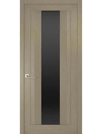 Дверное полотно с черным стеклом Рива Модерно-2, дуб натуральный, 400 х 2000 мм