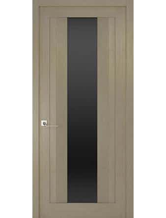 Дверное полотно с черным стеклом Рива Модерно-2, дуб натуральный, 600 х 2000 мм