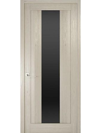 Дверное полотно с черным стеклом Рива Модерно-2, дуб жемчужный, 400 х 2000 мм