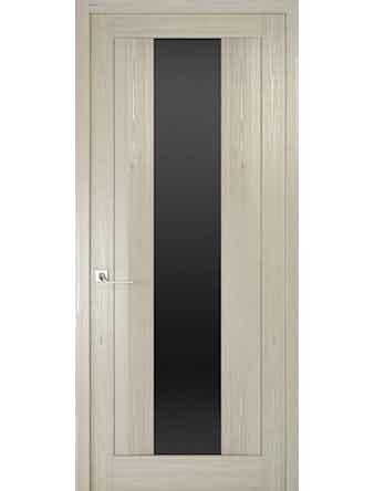 Дверное полотно с черным стеклом Рива Модерно-2, дуб жемчужный, 600 х 2000 мм