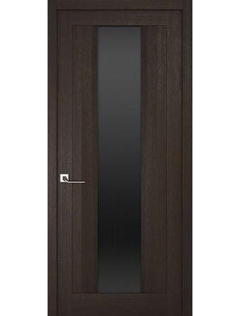 Дверное полотно с черным стеклом Рива Модерно-2, венге, 400 х 2000 мм