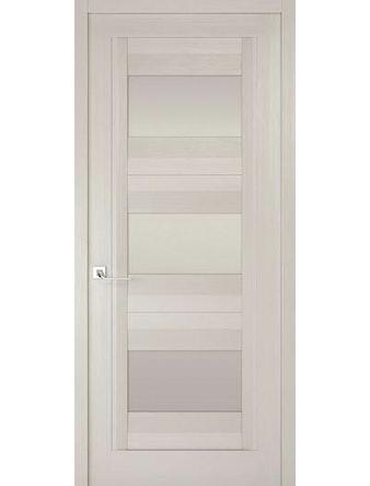 Дверное полотно с белым стеклом Рива Модерно-3, дуб белый Аляска, 600 х 2000 мм