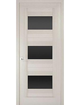 Дверное полотно с черным стеклом Рива Модерно-3, дуб белый Аляска, 400 х 2000 мм
