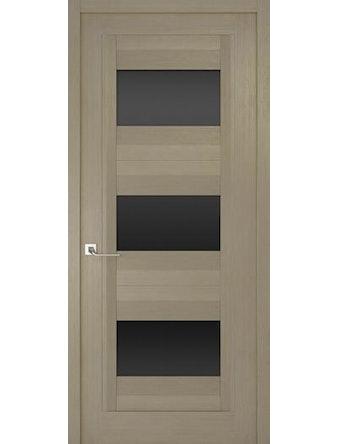 Дверное полотно с черным стеклом Рива Модерно-3, дуб натуральный, 600 х 2000 мм