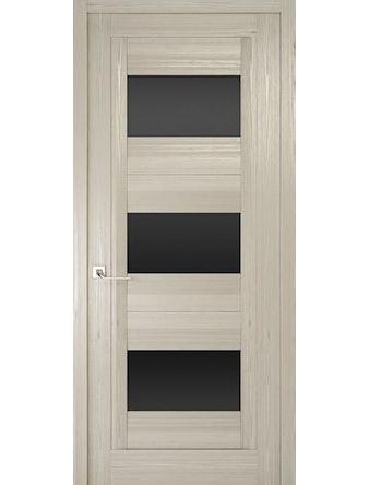 Дверное полотно с черным стеклом Рива Модерно-3, дуб жемчужный, 600 х 2000 мм