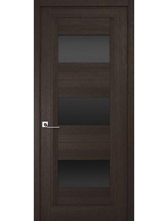 Дверное полотно с черным стеклом Рива Модерно-3, венге, 800 х 2000 мм