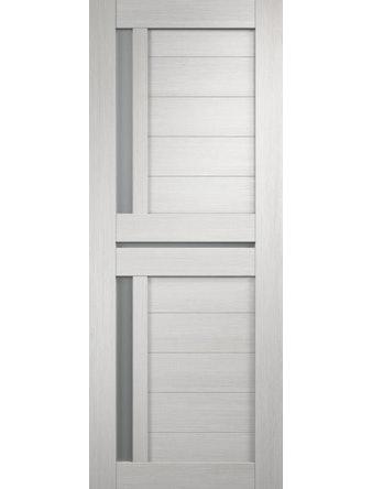Дверное полотно с белым стеклом мателюкс Дуплекс-3 с врезкой, дуб белый, 600 х 2000 мм