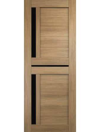 Дверное полотно с черным стеклом Дуплекс-3 с врезкой, дуб золотой, 800 х 2000 мм