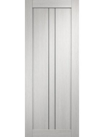 Дверное полотно с белым стеклом мателюкс Линия-2 с врезкой, дуб белый, 800 х 2000 мм
