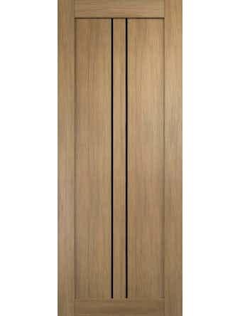 Дверное полотно с черным стеклом Линия-2 с врезкой, дуб золотой, 900 х 2000 мм