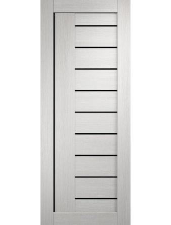 Дверное полотно с черным стеклом Линия-3 с врезкой, дуб белый, 900 х 2000 мм