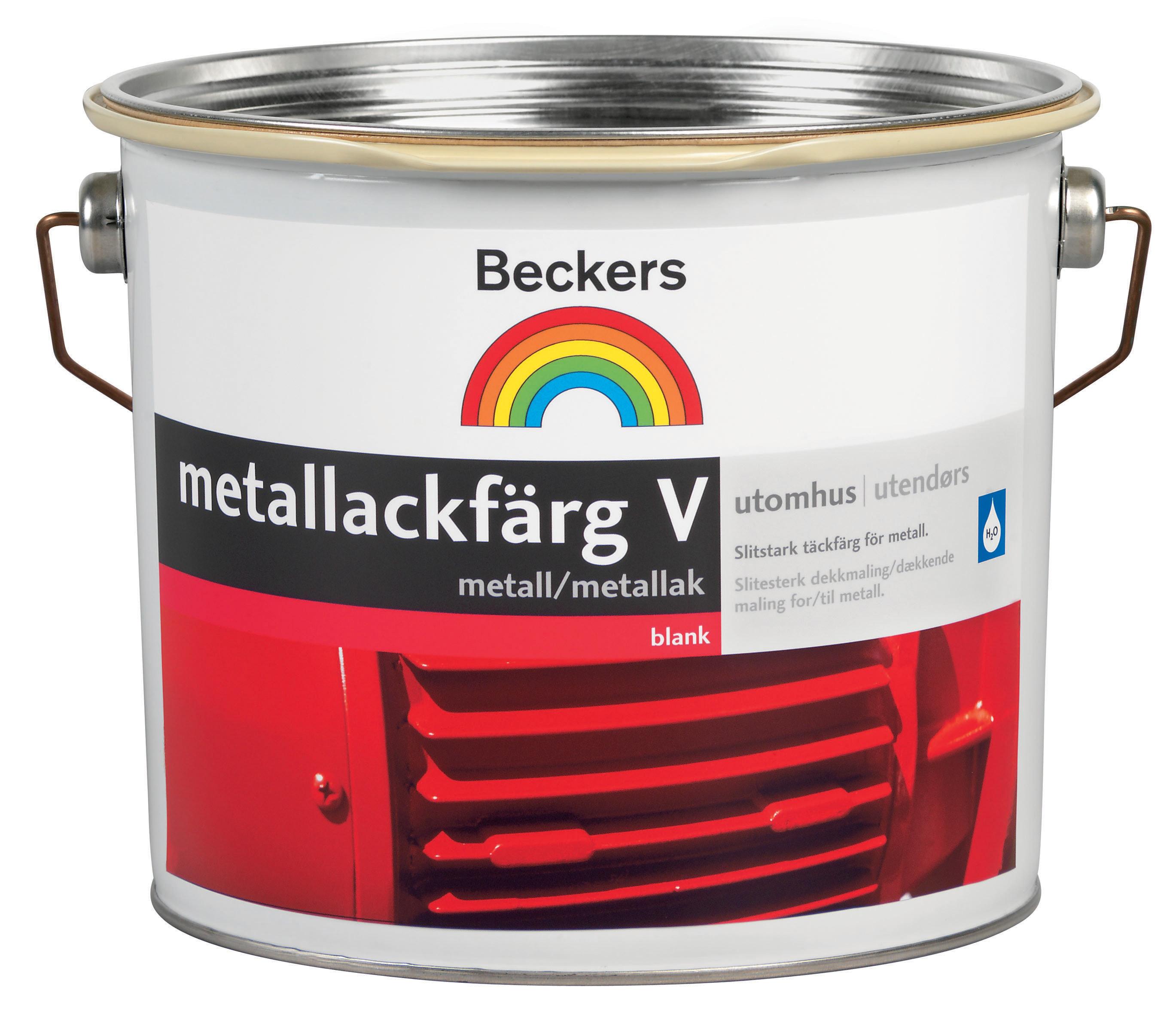 Metallackfärg Beckers Vattenbaserad Blank Vit/Bas A 2,7l