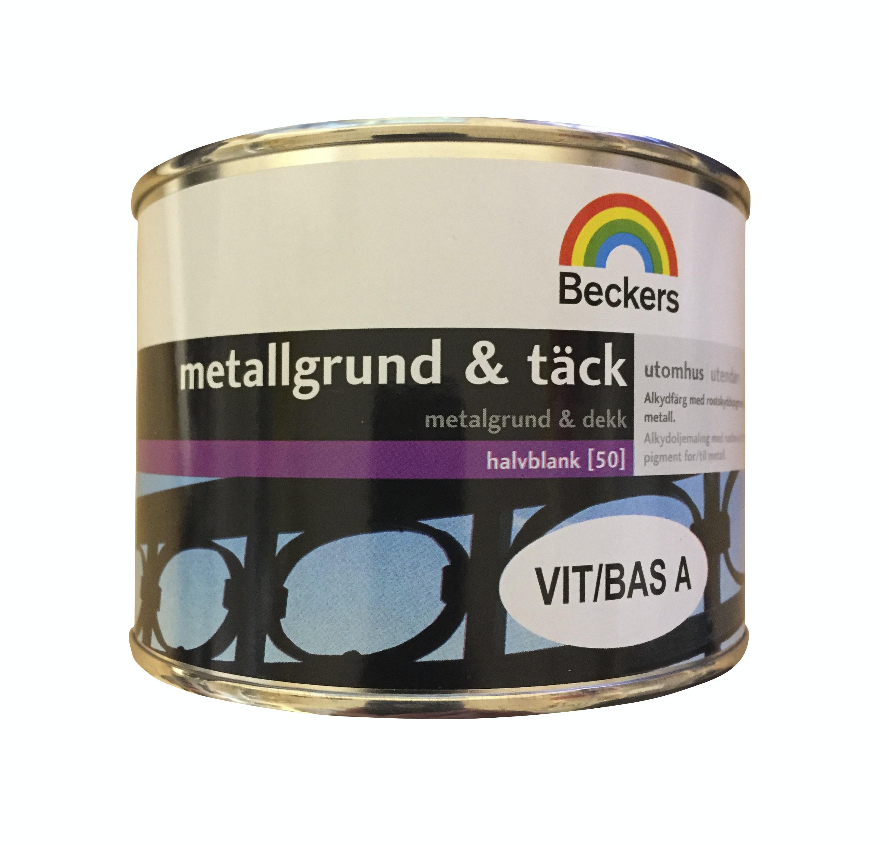 Metallgrund & Täck Beckers Halvblank Vit/Bas A 0,45L