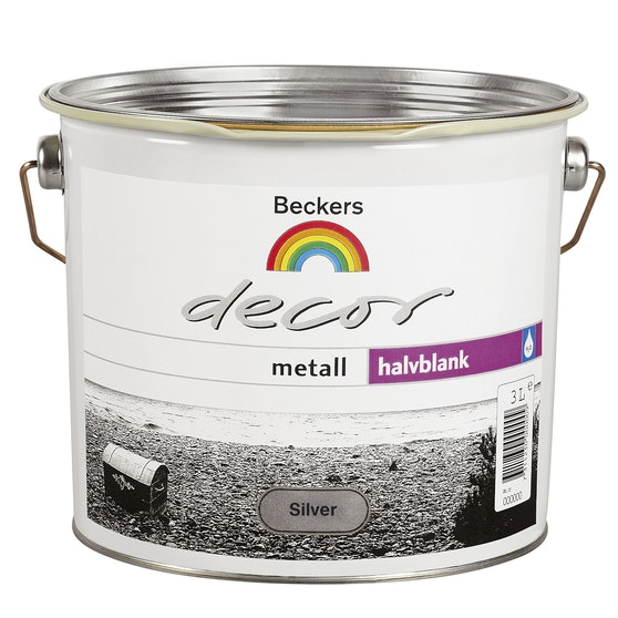 Strålande Grund- och Täckfärg Beckers Decor Metall Halvblank Silver 3l - K-rauta TZ-29