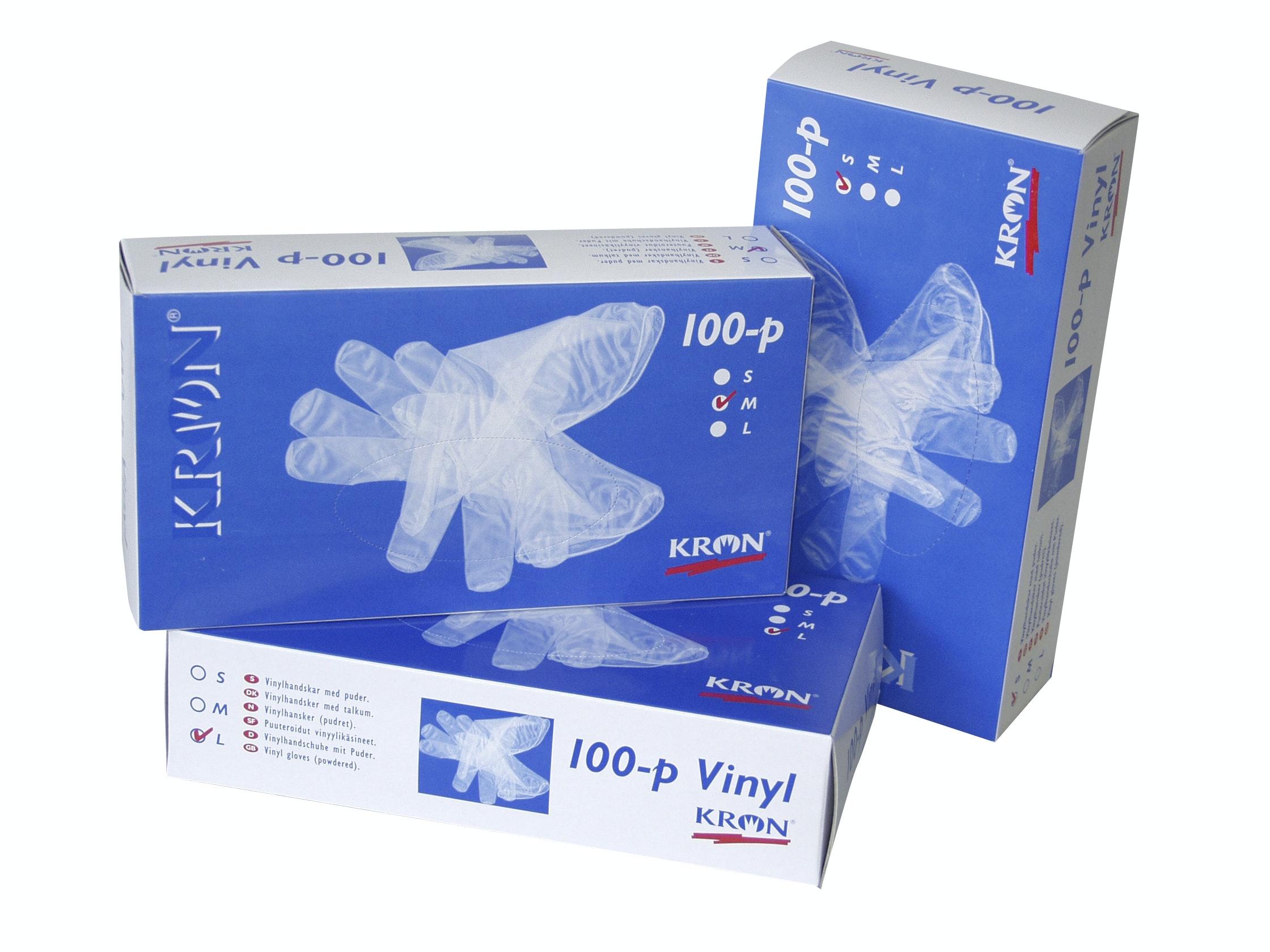 Handske Kron Vinyl Pudrad 100-Pack S12760