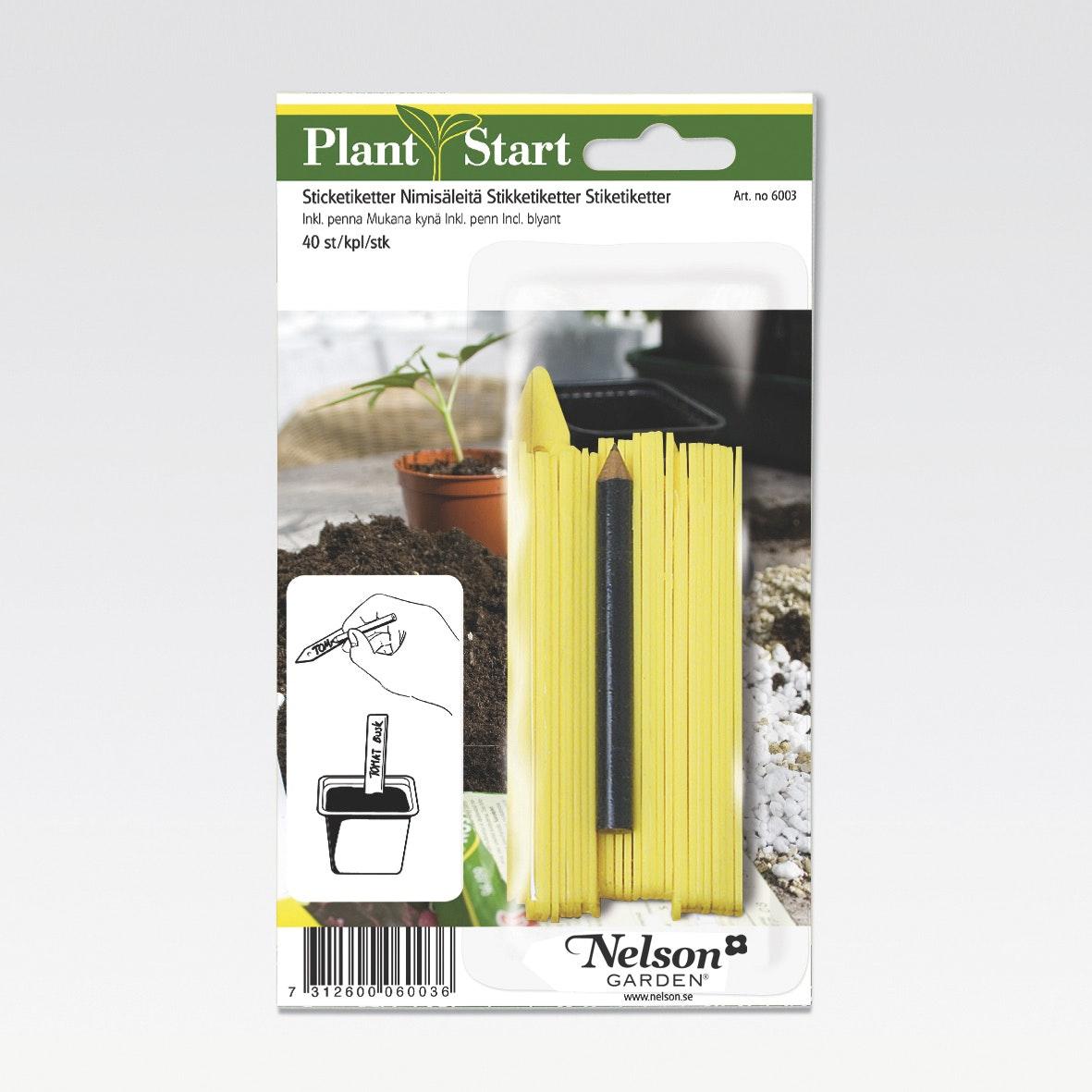 Sticketikett Nelson Garden Plast Med Penna 40-Pack