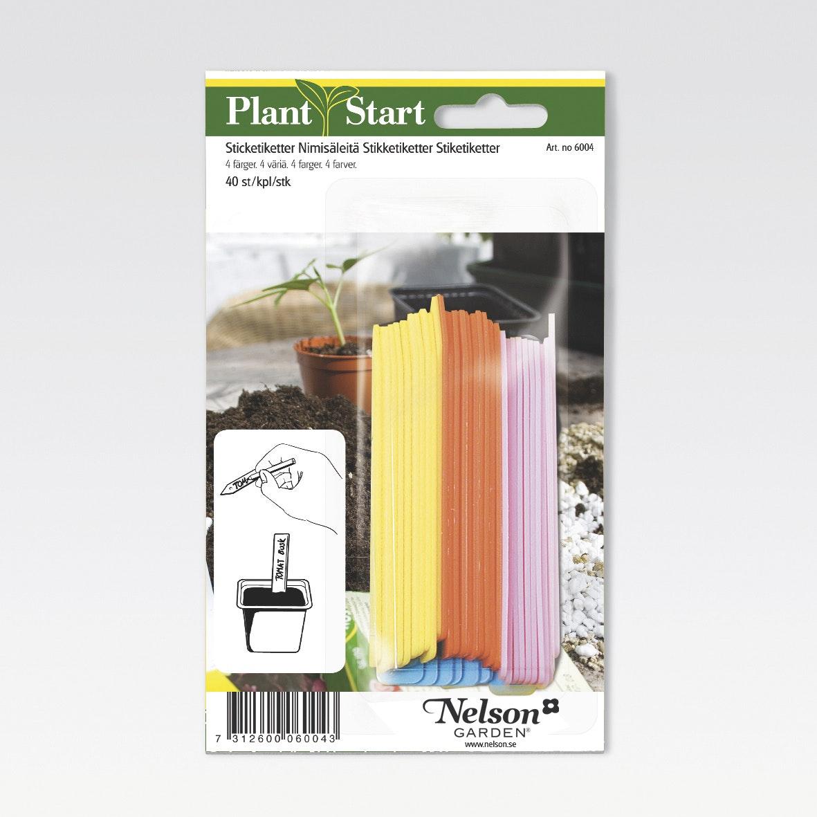 Etiketter Nelson Garden Plantstart 40-Pack 4 Färger