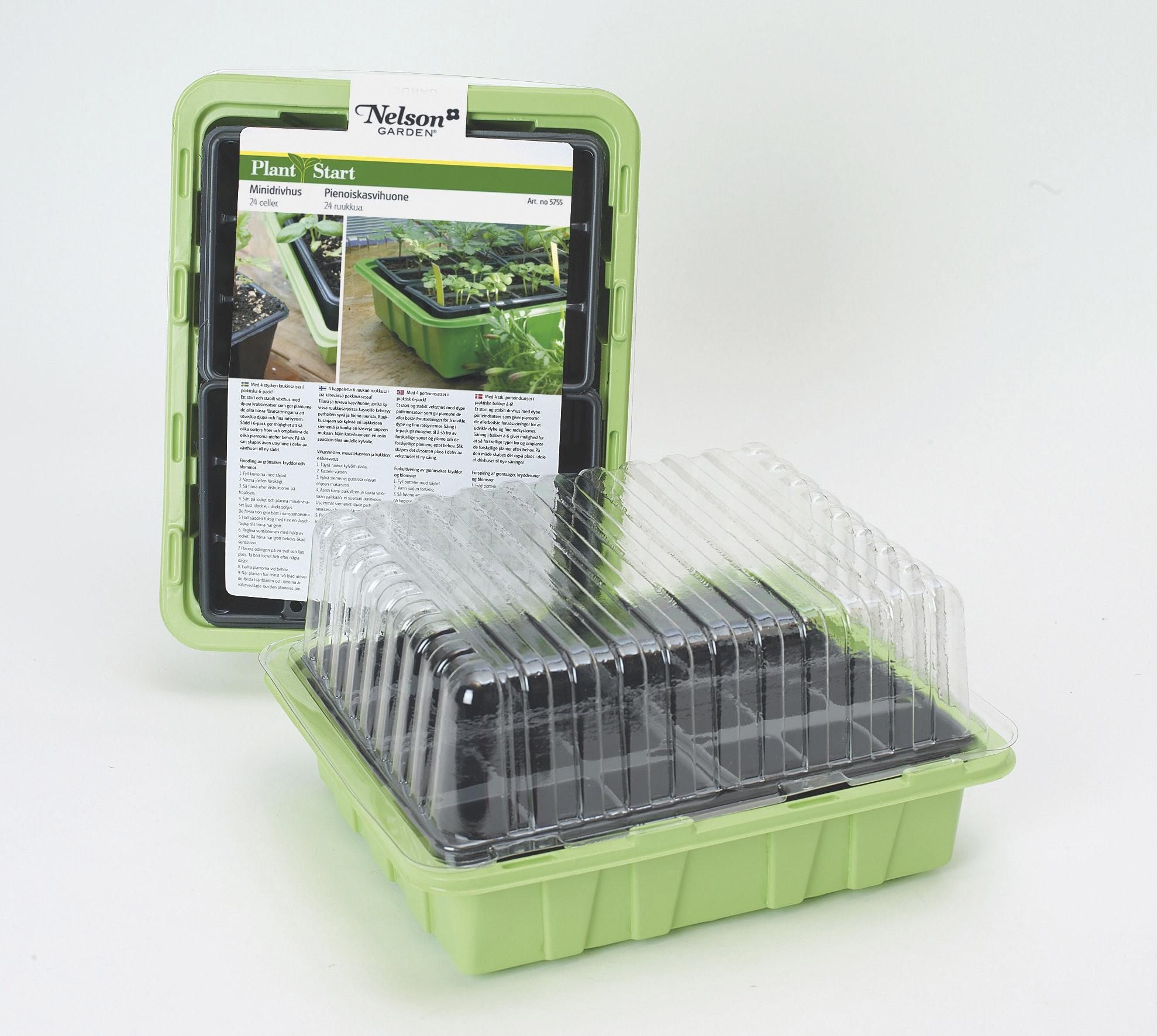Minidrivhus Nelson Garden Medium Med 24 Plastkrukor