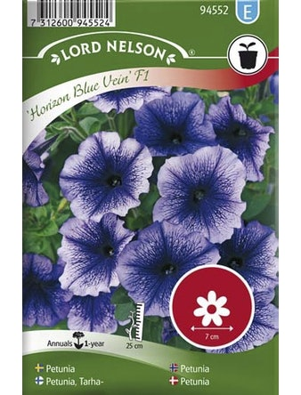 Petunia Lord Nelson Horizon Blue Vein F1 Storblommig