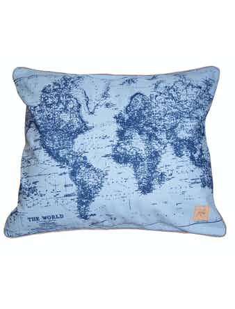 Kuddfodral World 50x60 Ljusblå/Marin