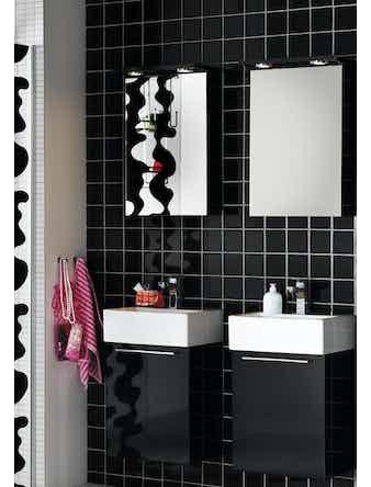 Badrumsmöbel Hafa Solo 42 cm Svart Komplett Med Spegelskåp