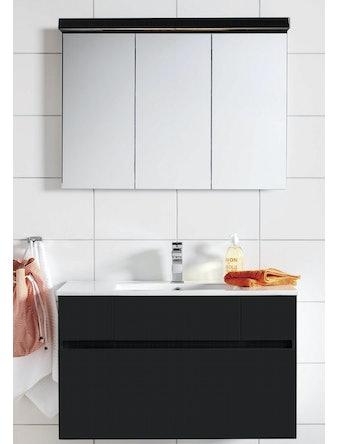 Badrumsmöbel Hafa East 120 cm svart komplett med spegelskåp