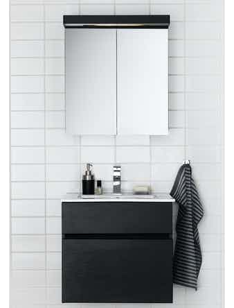 Badrumsmöbel Hafa East 120 cm dubbelho vit komplett med spegelskåp