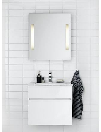 Badrumsmöbel Hafa East 60 cm högblank vit komplett spegel