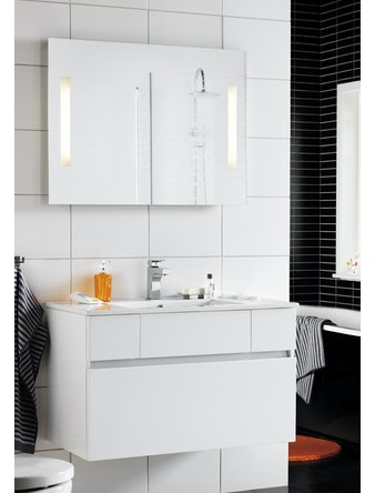 Badrumsmöbel Hafa East 90 cm vit komplett med spegel