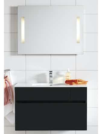 Badrumsmöbel Hafa East 90 cm svart komplett med spegel