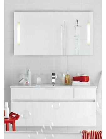 Badrumsmöbel Hafa East 120 cm vit komplett med spegel