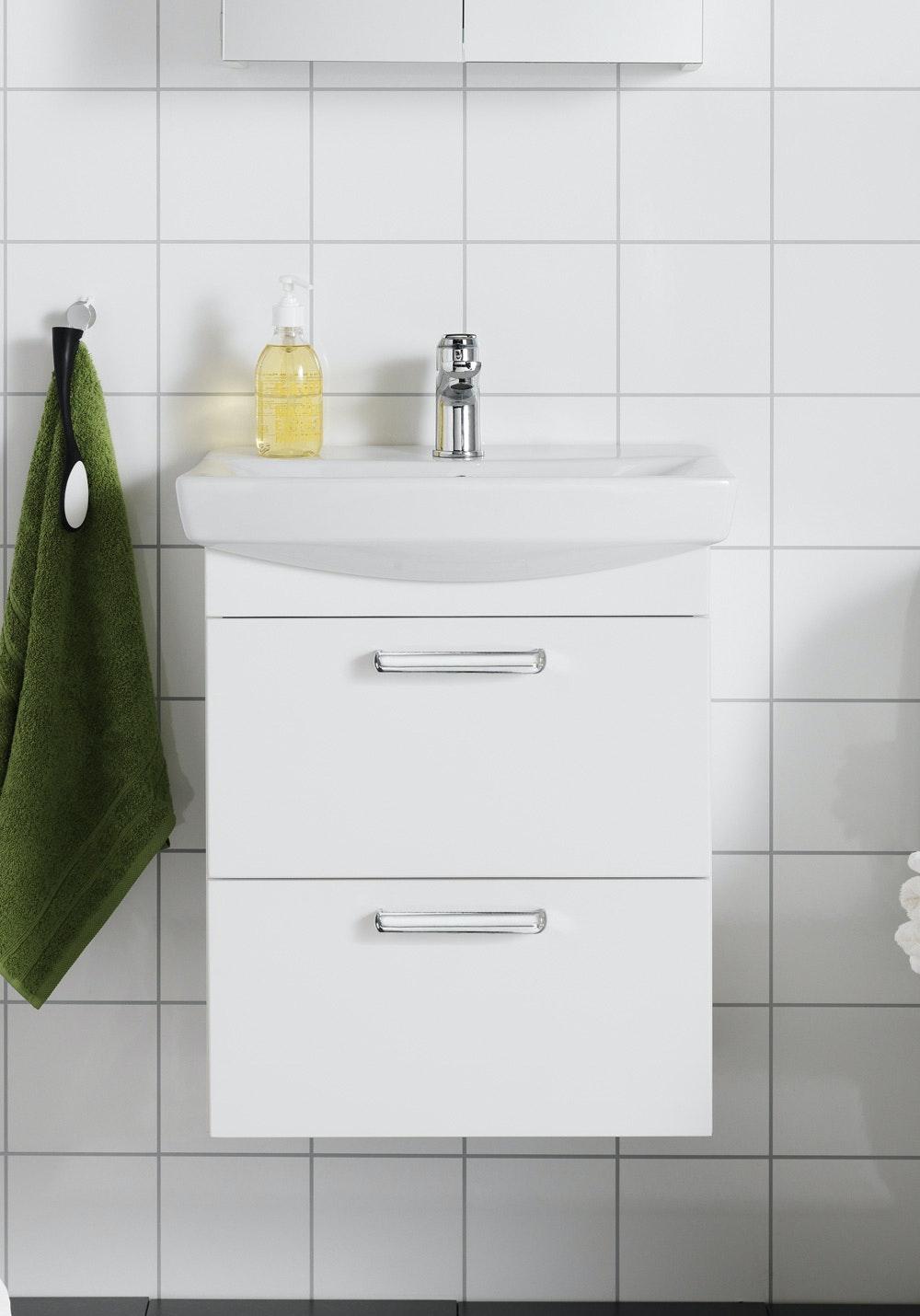 Tvättställsskåp Hafa Life 700 Vit Utan Lådfront Med Tvättställ